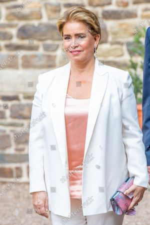 Grand Duchess Maria Teresa of Luxembourg during the christening of Prince Charles of Luxembourg, at Abbaye Saint-Maurice in Clervaux, Luxembourg.