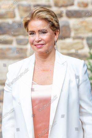 Stock Picture of Grand Duchess Maria Teresa of Luxembourg during the christening of Prince Charles of Luxembourg, at Abbaye Saint-Maurice in Clervaux, Luxembourg.