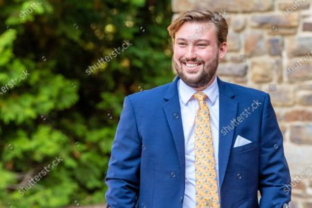 Stock Photo of Prince Sebastien of Luxembourg during the christening of Prince Charles of Luxembourg, at Abbaye Saint-Maurice in Clervaux, Luxembourg.