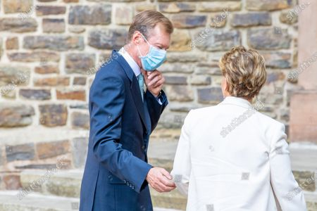Grand Duke Henri of Luxembourg and Grand Duchess Maria Teresa of Luxembourg during the christening of Prince Charles of Luxembourg, at Abbaye Saint-Maurice in Clervaux, Luxembourg.