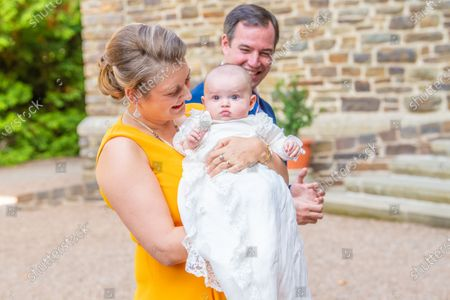 Grand Duchess Stephanie of Luxembourg with Prince Charles of Luxembourg during the christening of Prince Charles of Luxembourg, at Abbaye Saint-Maurice in Clervaux, Luxembourg.