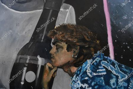 A detail of a mural dedicated to British musician George Michael near the site of his old home in Kingsbury in north London, Britain, 19 September 2020. Artist Dawn Mellor said it celebrates the singer as a pioneering cultural and LGBTQ+ figure. The artwork is in Kingsbury, north west London, where he lived and went to school.