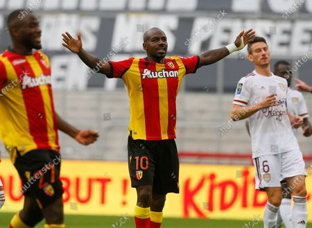 Lens' Gael Kakuta, center, celebrates after scoring the second goal during the French League One soccer match between Lens and Bordeaux in Lens, northern France
