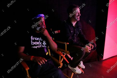 Emmy Host Jimmy Kimmel, right, laughs with one of the show writers Chris Spencer as they gather backstage during rehearsals Friday for the 72nd Annual Emmy Awards taking place at Staples Center this Sunday. Staples Center on Friday, Sept. 18, 2020 in Los Angeles, CA. (Al Seib / Los Angeles Times