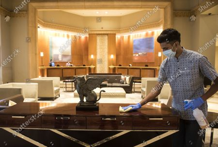 J W Marriott, Juhu  staff members Sanitize after government on Wednesday allowed Hotels to commence operations with 33 percent occupancy, on September 19, 2020  in Mumbai, India.