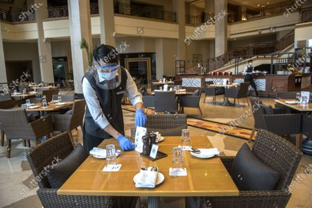 Staff members at J W Marriott, Juhu following   after Government on Wednesday allowed Hotels to commence operations with 33 percent occupancy, on September 19, 2020  in Mumbai, India.