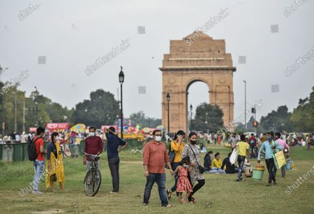 People seen at India Gate on a pleasant day, on September 19, 2020  in New Delhi, India.
