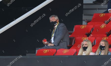 Sir Alex Ferguson wearing a protective face mask in the stands during the English Premier League match between Manchester United and Crystal Palace in Manchester, Britain, 19 September 2020.