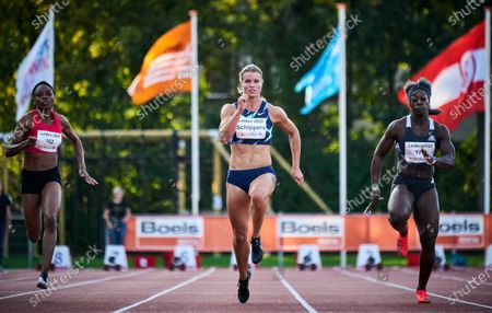 Dafne Schippers  (C) of the Netherlands competes in the women's 100m race at the Gouden Spike athletics meeting in Leiden, The Netherlands, 19 September 2020.