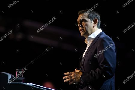 Stock Image of Greek leader of main opposition SYRIZA party, Alexis Tsipras speaks during the 'Thessaloniki Helexpo Forum', in Thessaloniki, Greece, 19 September 2020. The political-economic forum 'Thessaloniki Helexpo Forum' runs from 11-20 September 2020 in Thessaloniki, substituting for the cancelled 85th Thessaloniki International Fair, due to coronavirus pandemic crisis.
