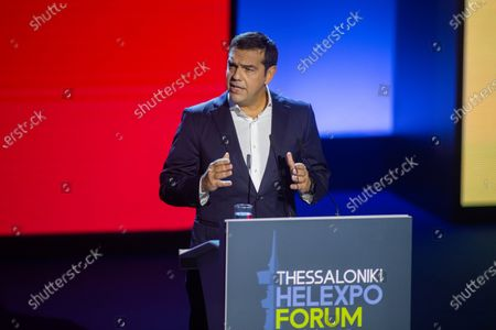 Greek leader of main opposition SYRIZA party, Alexis Tsipras speaks during the 'Thessaloniki Helexpo Forum', in Thessaloniki, Greece, 19 September 2020. The political-economic forum 'Thessaloniki Helexpo Forum' runs from 11-20 September 2020 in Thessaloniki, substituting for the cancelled 85th Thessaloniki International Fair, due to coronavirus pandemic crisis.