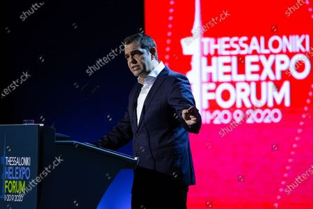 Stock Photo of Greek leader of main opposition SYRIZA party, Alexis Tsipras speaks during the 'Thessaloniki Helexpo Forum', in Thessaloniki, Greece, 19 September 2020. The political-economic forum 'Thessaloniki Helexpo Forum' runs from 11-20 September 2020 in Thessaloniki, substituting for the cancelled 85th Thessaloniki International Fair, due to coronavirus pandemic crisis.