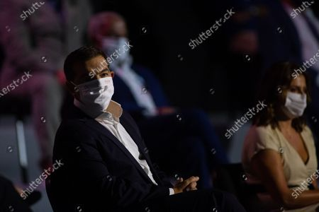 Stock Picture of Greek leader of main opposition SYRIZA party, Alexis Tsipras (L) attends the 'Thessaloniki Helexpo Forum', in Thessaloniki, Greece, 19 September 2020. The political-economic forum 'Thessaloniki Helexpo Forum' runs from 11-20 September 2020 in Thessaloniki, substituting for the cancelled 85th Thessaloniki International Fair, due to coronavirus pandemic crisis.