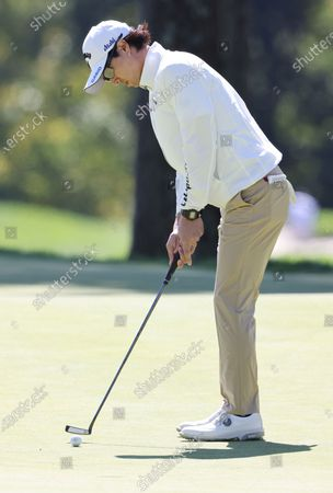 Ryo Ishikawa of Japan putts during the third round of the 2020 US Open at Winged Foot Golf Club in Mamaroneck, New York, USA, 19 September 2020. The 2020 US Open will be played from 17 September through 20 September in front of no fans due to the ongoing coronovirus pandemic.