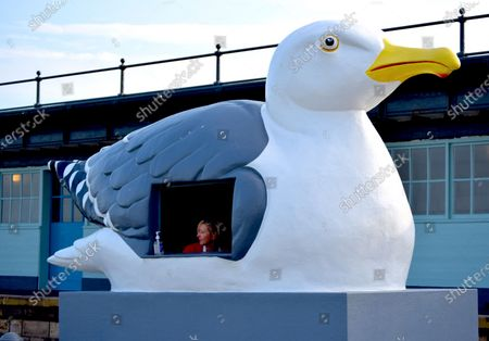 Images show Folkestone Harbour Wall and Lighthouse. The giant seagull is a work by artist Mark Dion, titled The Mobile Gull Appreciation Unit.