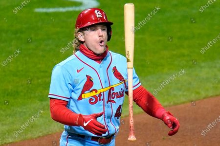 St. Louis Cardinals' Harrison Bader tosses his bat as he takes his base after being hit by a pitch from Pittsburgh Pirates relief pitcher Sam Howard during the seventh inning of a baseball game in Pittsburgh