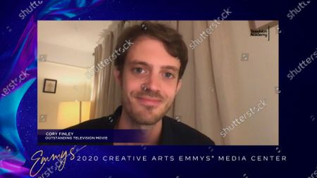 """Stock Image of Cory Finley speaks in the 2020 Creative Arts Emmy Awards Media Center, after receiving the Emmy for Outstanding Television Movie for """"Bad Education"""", on at 8:00 PM EDT/5:00 PM PDT on FXX"""