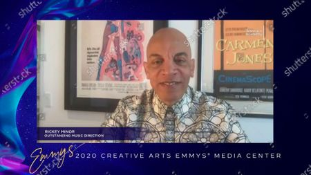 "Stock Picture of Rickey Minor received his Emmy for Outstanding Music Direction for ""The Kennedy Center Honors"" earlier this week and is interviewed about his win in the 2020 Creative Arts Emmy Awards Media Center on at 8:00 PM EDT/5:00 PM PDT on FXX"