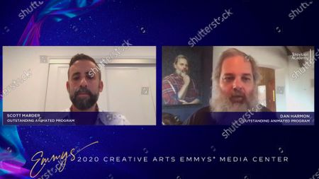 """Stock Image of Scott Marder and Dan Harmon speak at the 2020 Creative Arts Emmy Awards Media Center, after receiving the Emmy for Outstanding Animated Program for """"Rick And Morty"""", on at 8:00 PM EDT/5:00 PM PDT on FXX"""