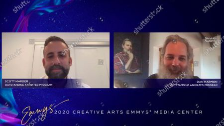 """Scott Marder and Dan Harmon speak at the 2020 Creative Arts Emmy Awards Media Center, after receiving the Emmy for Outstanding Animated Program for """"Rick And Morty"""", on at 8:00 PM EDT/5:00 PM PDT on FXX"""