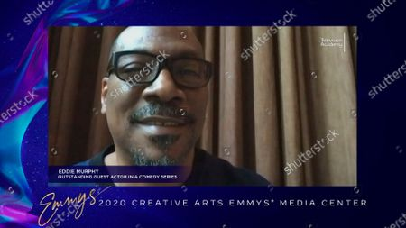 """Eddie Murphy speaks in the 2020 Creative Arts Emmy Awards Media Center, after receiving the Emmy for Outstanding Guest Actress In A Comedy Series for """"Saturday Night Live"""", on at 8:00 PM EDT/5:00 PM PDT on FXX"""