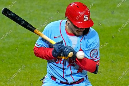 St. Louis Cardinals' Yadier Molina his hit by a pitch from Pittsburgh Pirates reliever Sam Howard during the seventh inning of a baseball game in Pittsburgh, . Molina left the game after the inning