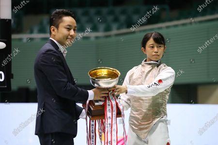 (L-R) Yuki Ota, Sumire Tsuji - Fencing : The 73rd All Japan Fencing Championships Women's Foil preliminaries at Komazawa Olympic Park Gymnasium, Tokyo, Japan.