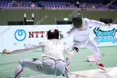 Stock Image of (L-R) Satoru Uyama, Koki Kano - Fencing : The 73rd All Japan Fencing Championships Men's Epee semi-final at Komazawa Olympic Park Gymnasium, Tokyo, Japan.