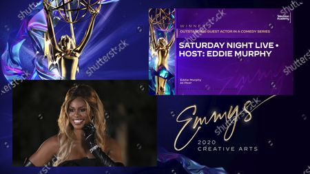 """Laverne Cox presents the Emmy for Outstanding Guest Actor In A Comedy Series to Eddie Murphy for """"Saturday Night Live"""" for """"Host: Eddie Murphy"""" during the 2020 Creative Arts Emmy Awards telecast on at 8:00 PM EDT/5:00 PM PDT on FXX"""