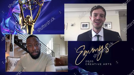 """Lamorne Morris presents the Emmy for Outstanding Television Movie to Eddie Vaisman for """"Bad Education"""" during the 2020 Creative Arts Emmy Awards telecast on at 8:00 PM EDT/5:00 PM PDT on FXX"""