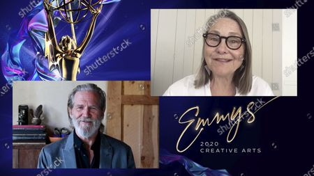 """Stock Image of Jeff Bridges presents the Emmy for Outstanding Guest Actress In A Drama Series to Cherry Jones for """"Succession"""" for """"Tern Haven"""" during the 2020 Creative Arts Emmy Awards telecast on at 8:00 PM EDT/5:00 PM PDT on FXX"""