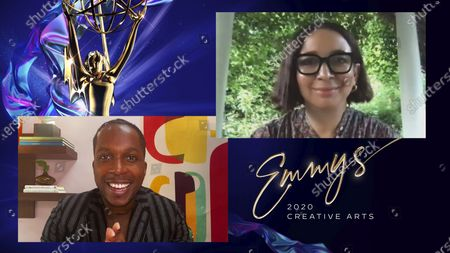 """Leslie Odom Jr. presents the Emmy for Outstanding Guest Actress In A Comedy Series to Maya Rudolph for """"Saturday Night Live"""" for """"Host: Eddie Murphy"""" during the 2020 Creative Arts Emmy Awards telecast on at 8:00 PM EDT/5:00 PM PDT on FXX"""