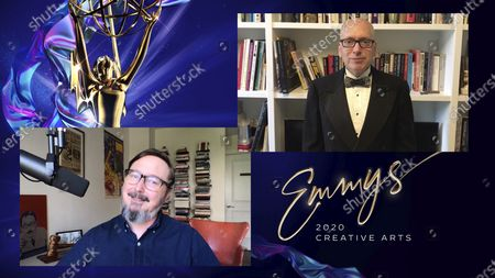 """Stock Image of John Hodgman presents the Emmy for Outstanding Lighting Design/Lighting Direction for a Variety Series to Trevor Brown for """"Saturday Night Live"""" for """"Host: John Mulaney"""" during the 2020 Creative Arts Emmy Awards telecast on at 8:00 PM EDT/5:00 PM PDT on FXX"""