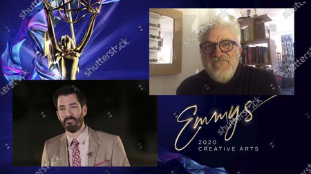 "Drew Scott presents the Emmy for Outstanding Production Design For A Narrative Period Or Fantasy Program (One Hour Or More) to Martin Childs for ""The Crown"" for ""Aberfan"" during the 2020 Creative Arts Emmy Awards telecast on at 8:00 PM EDT/5:00 PM PDT on FXX"