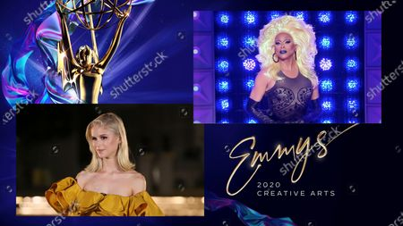 """Stock Photo of Erin Moriarty presents the Emmy for Outstanding Host For A Reality Or Competition Program to RuPaul for """"RuPaul's Drag Race"""" during the 2020 Creative Arts Emmy Awards telecast on at 8:00 PM EDT/5:00 PM PDT on FXX"""