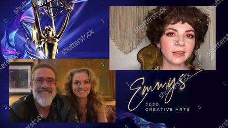 """Stock Image of Jeffrey Dean Morgan and Hilarie Burton present the Emmy for Outstanding Contemporary Makeup (Non-Prosthetic) to Kirsten Sage Coleman for """"Euphoria"""" for """"And Salt The Earth Behind You"""" during the 2020 Creative Arts Emmy Awards telecast on at 8:00 PM EDT/5:00 PM PDT on FXX"""