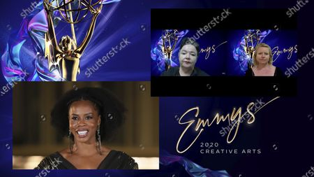 """Stock Picture of Brandee Evans presents the Emmy for Outstanding Contemporary Costumes to Debra Hanson and Darci Cheyne for """"Schitt's Creek"""" for """"Happy Ending"""" during the 2020 Creative Arts Emmy Awards telecast on at 8:00 PM EDT/5:00 PM PDT on FXX"""