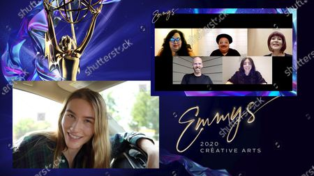 """Sofia Hublitz presents the Emmy for Outstanding Period And/Or Character Hairstyling to Michele Arvizo, clockwise from top left, George Guzman, Maria Elena Pantoja, Michelle Ceglia and Barry Lee Moe for """"Hollywood"""" for """"A Hollywood Ending"""" during the 2020 Creative Arts Emmy Awards telecast on at 8:00 PM EDT/5:00 PM PDT on FXX"""