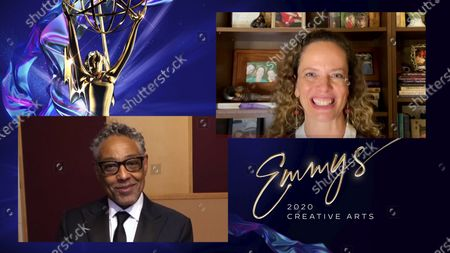 "Giancarlo Esposito presents the Emmy for Outstanding Children's Program to Halle Stanford for ""Jim Henson's The Dark Crystal: Age Of Resistance"" during the 2020 Creative Arts Emmy Awards telecast on at 8:00 PM EDT/5:00 PM PDT on FXX"