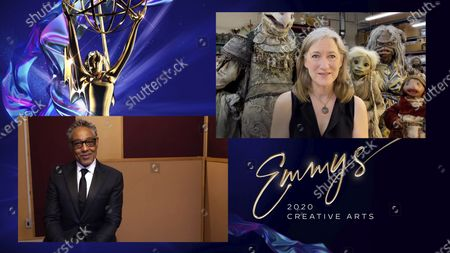 "Stock Photo of Giancarlo Esposito presents the Emmy for Outstanding Children's Program to Lisa Henson for ""Jim Henson's The Dark Crystal: Age Of Resistance"" during the 2020 Creative Arts Emmy Awards telecast on at 8:00 PM EDT/5:00 PM PDT on FXX"
