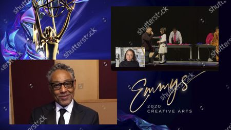 """Giancarlo Esposito presents the Emmy for Outstanding Children's Program to Julie Anderson for """"We Are The Dream: The Kids Of The Oakland MLK Oratorical Fest"""" during the 2020 Creative Arts Emmy Awards telecast on at 8:00 PM EDT/5:00 PM PDT on FXX"""