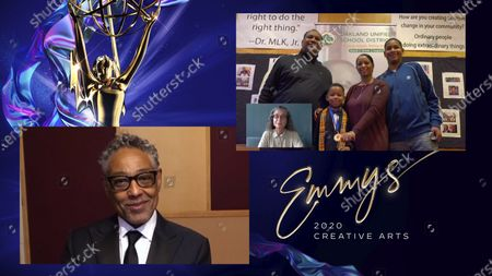 """Giancarlo Esposito presents the Emmy for Outstanding Children's Program to Diane Kolyer for """"We Are The Dream: The Kids Of The Oakland MLK Oratorical Fest"""" during the 2020 Creative Arts Emmy Awards telecast on at 8:00 PM EDT/5:00 PM PDT on FXX"""