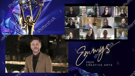"""Stock Picture of Chris Hardwick presents the Emmy for Outstanding Commercial to the team of SMUGGLER, BBDO New York for """"Back-to-School Essentials - Sandy Hook Promise"""" during the 2020 Creative Arts Emmy Awards telecast on at 8:00 PM EDT/5:00 PM PDT on FXX"""