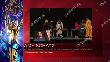 "Stock Photo of Amy Schatz accepts the Emmy for Outstanding Children's Program for ""We Are The Dream: The Kids Of The Oakland MLK Oratorical Fest"" during the 2020 Creative Arts Emmy Awards telecast on at 8:00 PM EDT/5:00 PM PDT on FXX"
