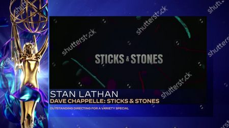"Stan Lathan accepts the Emmy for Outstanding Directing for a Variety Special for ""Sticks & Stones"" during the 2020 Creative Arts Emmy Awards telecast on at 8:00 PM EDT/5:00 PM PDT on FXX"