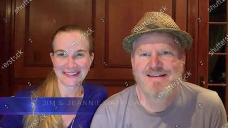Jeannie Gaffigan, left, and Jim Gaffigan present the Emmy for Outstanding Sound Mixing For A Comedy Or Drama Series (One Hour) during the 2020 Creative Arts Emmy Awards telecast on at 8:00 PM EDT/5:00 PM PDT on FXX