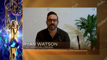 """Ryan Watson accepts the Emmy for Outstanding Stunt Coordination For A Drama Series, Limited Series Or Movie for """"The Mandalorian"""" during the 2020 Creative Arts Emmy Awards telecast on at 8:00 PM EDT/5:00 PM PDT on FXX"""