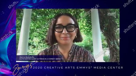 """Maya Rudolph accepts the Emmy for Outstanding Guest Actress In A Comedy Series for """"Saturday Night Live"""" for """"Host: Eddie Murphy"""" during the 2020 Creative Arts Emmy Awards telecast on at 8:00 PM EDT/5:00 PM PDT on FXX"""