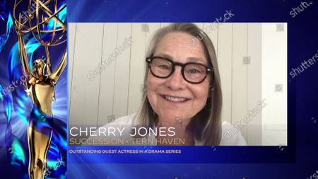 """Cherry Jones accepts the Emmy for Outstanding Guest Actress In A Drama Series for """"Succession"""" for """"Tern Haven"""" during the 2020 Creative Arts Emmy Awards telecast on at 8:00 PM EDT/5:00 PM PDT on FXX"""