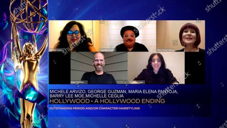 """Michele Arvizo, clockwise from top left, George Guzman, Maria Elena Pantoja, Michelle Ceglia and Barry Lee Moe accept the Emmy for Outstanding Period And/Or Character Hairstyling for """"Hollywood"""" for """"A Hollywood Ending"""" during the 2020 Creative Arts Emmy Awards telecast on at 8:00 PM EDT/5:00 PM PDT on FXX"""